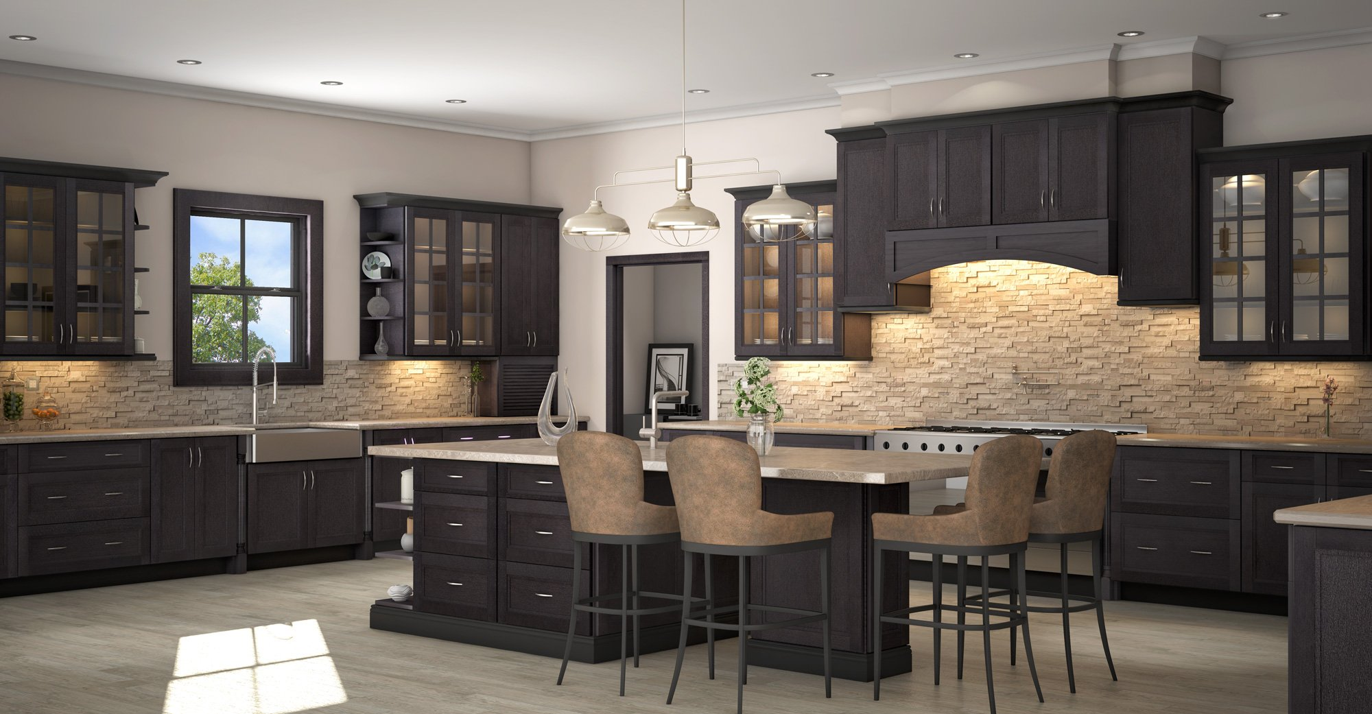 Kitchens With Grey Cabinets And Black Countertops